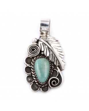 Flower and Leaf .925 Sterling Silver Certified Authentic Handmade Navajo Native American Natural Turquoise Pendant  1504