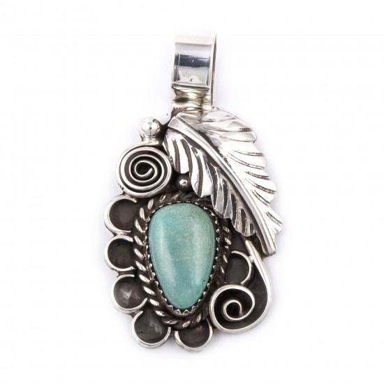 Flower and Leaf .925 Sterling Silver Certified Authentic Handmade Navajo Native American Natural Turquoise Pendant  1504 All Products NB180524003330 1504 (by LomaSiiva)