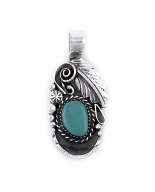 Flower and Leaf .925 Sterling Silver Certified Authentic Handmade Navajo Native American Natural Turquoise Pendant  27258