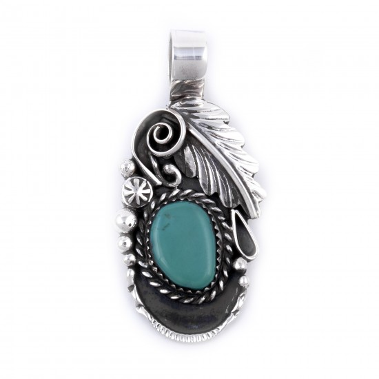 Flower and Leaf .925 Sterling Silver Certified Authentic Handmade Navajo Native American Natural Turquoise Pendant  27258 All Products NB180527001046 27258 (by LomaSiiva)