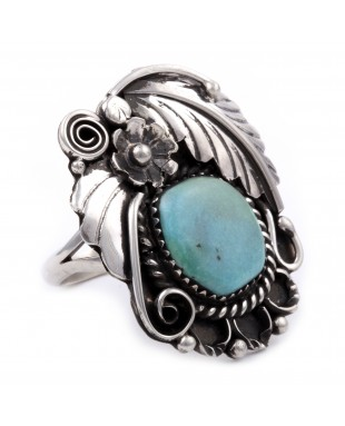 Flower and Leaf .925 Sterling Silver Certified Authentic Handmade Navajo Native American Natural Turquoise Ring  13224