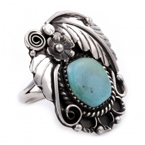 Flower and Leaf .925 Sterling Silver Certified Authentic Handmade Navajo Native American Natural Turquoise Ring  13224 All Products NB180527004605 13224 (by LomaSiiva)