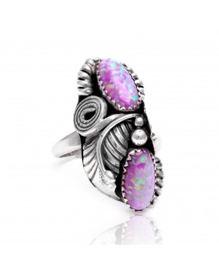 Flower and Leaf Opal .925 Sterling Silver Certified Authentic Navajo Native American Handmade Adjustable Ring 13188-8