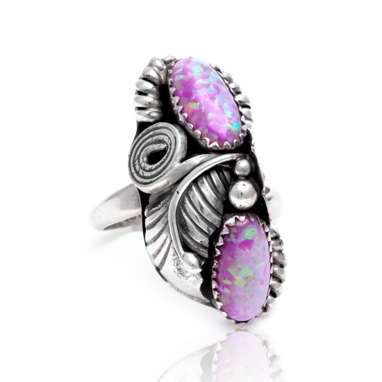Flower and Leaf Opal .925 Sterling Silver Certified Authentic Navajo Native American Handmade Adjustable Ring 13188-8 All Products NB15122322282111 13188-8 (by LomaSiiva)