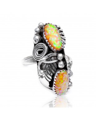 Flower and Leaf Lab Opal  Silver Certified Authentic Navajo Native American Handmade Adjustable Ring 26208-0