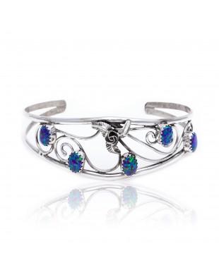 Flower Blue Opal .925 Sterling Silver Certified Authentic Navajo Native American Handmade Cuff Bracelet 13109-4