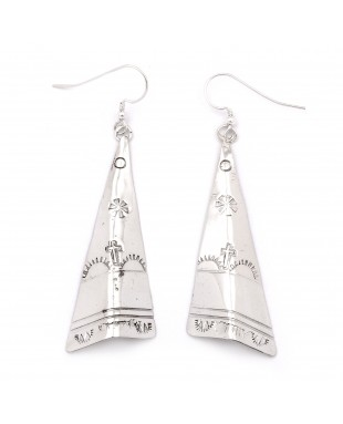 Flower Cross Sun Mountain .925 Starling Silver Certified Authentic Handmade Navajo Native American Earrings  27265-3