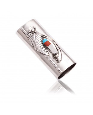 Flower Nickel .925 Sterling Silver Certified Authentic Handmade Navajo Native American Inlaid Natural Turquoise Mother of Pearl Black Onyx Coral Lighter Case 18122