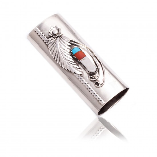 Flower Nickel .925 Sterling Silver Certified Authentic Handmade Navajo Native American Inlaid Natural Turquoise Mother of Pearl Black Onyx Coral Lighter Case 18122 Lighter Cases NB151216230320 18122 (by LomaSiiva)