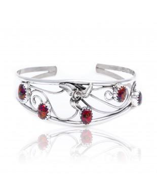 Flower Opal .925 Sterling Silver Certified Authentic Navajo Native American Handmade Cuff Bracelet 13109-1