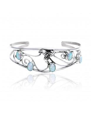 Flower Opal .925 Sterling Silver Certified Authentic Navajo Native American Handmade Cuff Bracelet 13109-3