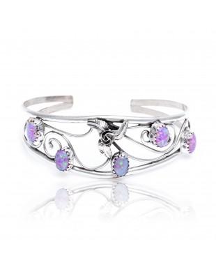 Flower Pink Opal .925 Sterling Silver Certified Authentic Navajo Native American Handmade Cuff Bracelet 13109-2