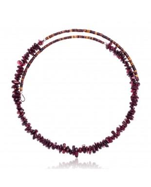 Garnet Certified Authentic Navajo Native American Adjustable Choker Wrap Necklace 25568