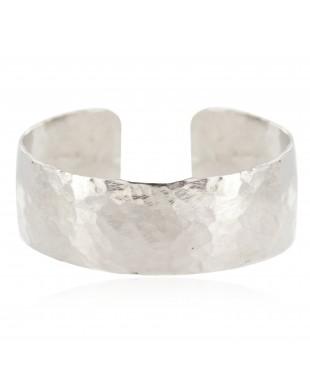 Hammered Nickel Navajo Handmade Certified Authentic Native American Cuff Bracelet 13005
