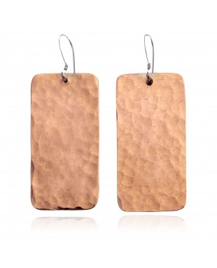Hammered Pure Copper Certified Authentic Navajo Native American Handmade Dangle Earrings 18245