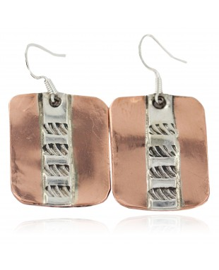 Handmade .925 Sterling Silver Certified Authentic Navajo Native American Pure Copper Dangle Earrings 18249-1