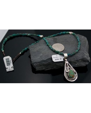 Handmade Certified Authentic Navajo .925 Sterling Silver Turquoise Native American Necklace & Pendant 390614969450
