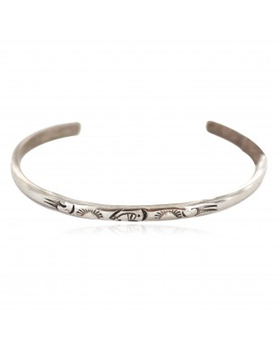 Handmade Bear Certified Authentic Navajo .925 Sterling Silver Native American Baby Bracelet  1249