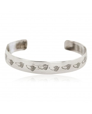 Handmade Bear paw Certified Authentic Navajo .925 Sterling Silver Baby Native American Bracelet 1 12853-6