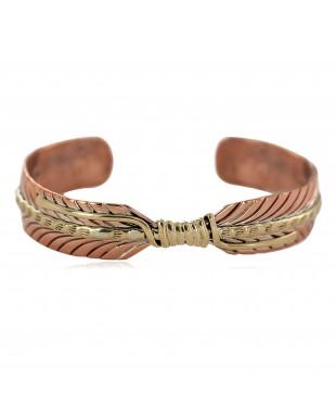Handmade Brass Navajo Certified Authentic Native American Pure Copper Bracelet  92023-2