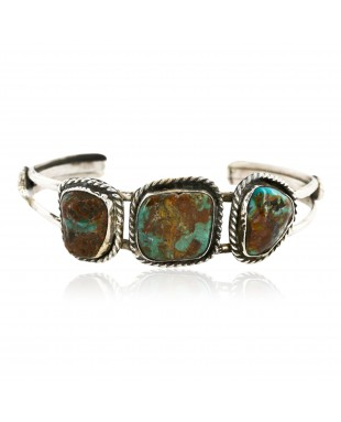 Handmade Certified Authentic Navajo .925 Sterling Silver Natural Turquoise Native American Bracelet 12818-2