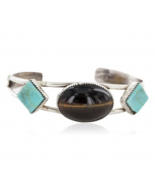 Handmade Certified Authentic Apache .925 Sterling Silver Natural Turquoise Tigers Eye Native American Bracelet 12770-0