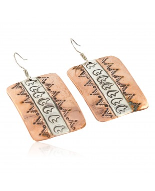 Handmade Certified Authentic Bear Navajo Handstamped Pure .925 Sterling Silver Copper Dangle Native American Earrings 27171-2