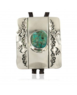 Handmade Certified Authentic Bear Paw Navajo Leather Nickel Natural Mountain Turquoise Native American Bolo Tie 24487