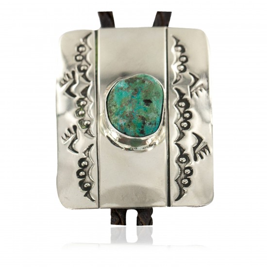 Handmade Certified Authentic Bear Paw Navajo Leather Nickel Natural Mountain Turquoise Native American Bolo Tie 24487 All Products NB160330221721 24487 (by LomaSiiva)