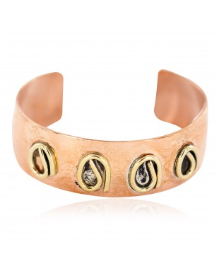 Handmade Certified Authentic Brass Navajo Native American Pure Copper Bracelet 13097-4