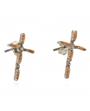 Handmade Certified Authentic Cross Zuni .925 Sterling Silver Natural Spiny Oyster Native American Stud Earrings 27220