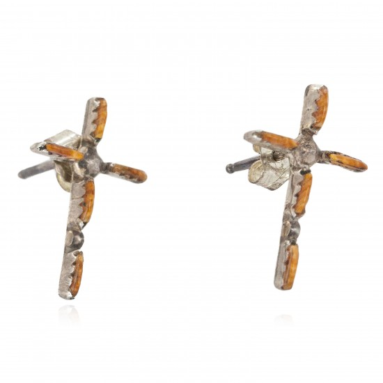 Handmade Certified Authentic Cross Zuni .925 Sterling Silver Natural Spiny Oyster Native American Stud Earrings 27220 All Products NB160205212958 27220 (by LomaSiiva)