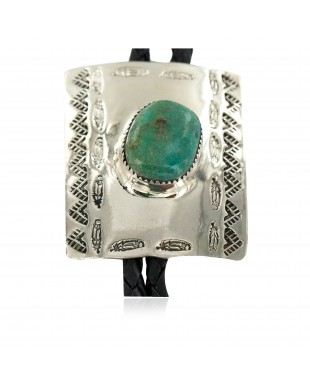 Handmade Certified Authentic Feather Mountain Navajo Leather Nickel Natural Turquoise Native American Bolo Tie 24488-1