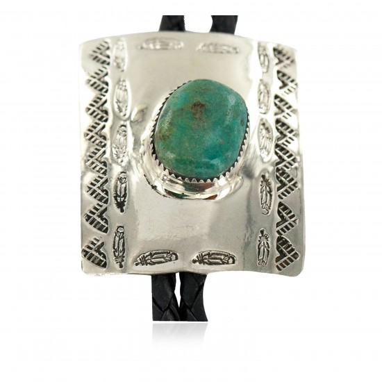 Handmade Certified Authentic Feather Mountain Navajo Leather Nickel Natural Turquoise Native American Bolo Tie 24488-1 All Products NB160330220206 24488-1 (by LomaSiiva)