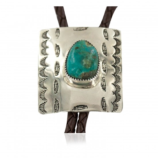 Handmade Certified Authentic Feather Navajo Leather Nickel Natural Turquoise Native American Bolo Tie 24488-4 All Products NB160330215722 24488-4 (by LomaSiiva)