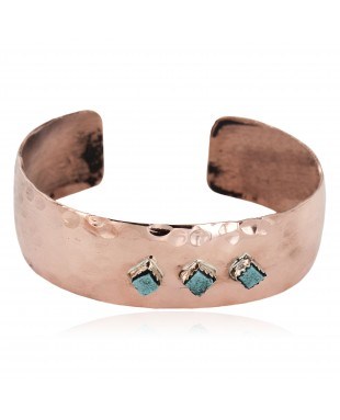 Handmade Certified Authentic Hammered Navajo Natural Turquoise Pure Copper Native American Bracelet 12953-2