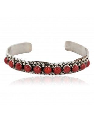 Handmade Certified Authentic Navajo .925 Sterling Silver Natural Coral Native American Bracelet 12498