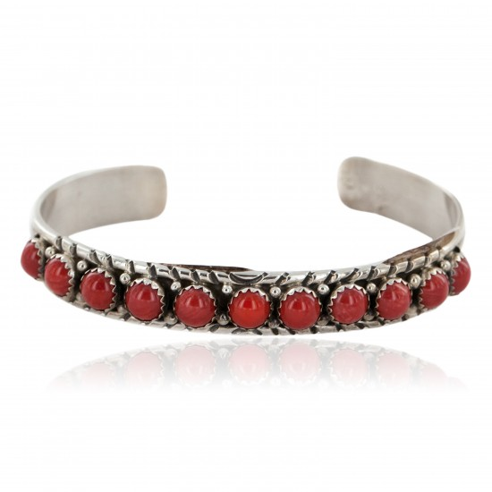 Handmade Certified Authentic Leroy james Navajo .925 Sterling Silver Natural Coral Native American Bracelet 12498 All Products NB151106023035 12498 (by LomaSiiva)