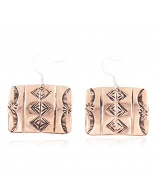 Handmade Certified Authentic Mountain Navajo Pure Copper Dangle Native American Earrings 18169-3