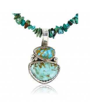 Handmade Certified Authentic Navajo .925 Sterling Silver and Turquoise Native American Necklace 390836707320