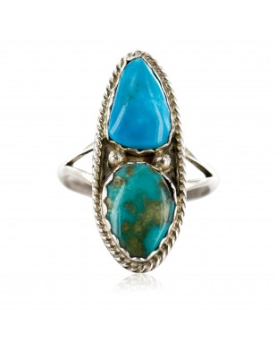 Handmade Certified Authentic Navajo .925 Sterling Silver and Turquoise Native American Ring  16859