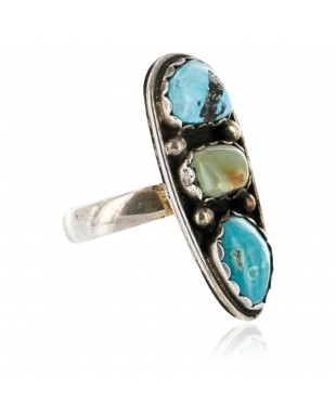 Handmade Certified Authentic Navajo .925 Sterling Silver and Turquoise Native American Ring  371068385932