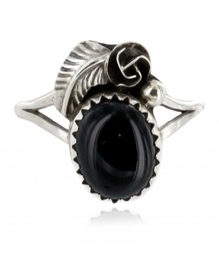 Handmade Certified Authentic Navajo .925 Sterling Silver Black Onyx Native American Ring Size 8 26203-4