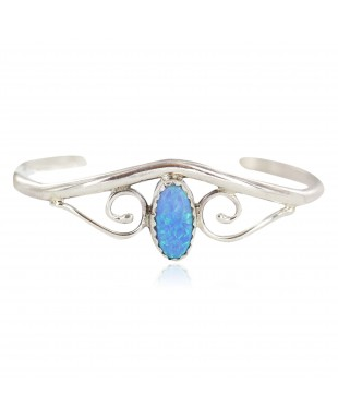 Handmade Certified Authentic Navajo .925 Sterling Silver Blue Opal Native American Baby Bracelet 13186-2