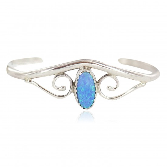 Handmade Certified Authentic Navajo .925 Sterling Silver Blue Opal Native American Baby Bracelet 13186-2 All Products NB160602223116 13186-2 (by LomaSiiva)