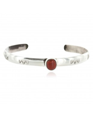 Handmade Certified Authentic Navajo .925 Sterling Silver Coral Baby Native American Bracelet 13013