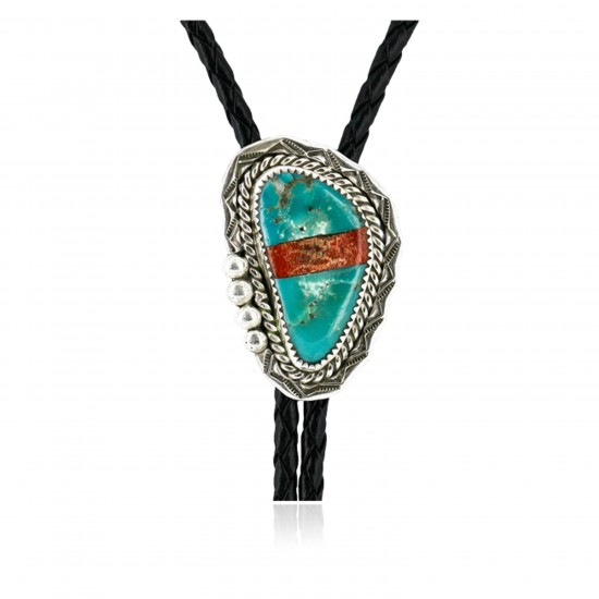 Handmade Certified Authentic Navajo .925 Sterling Silver Inlaid Natural Turquoise Jasper Native American Bolo Tie  24406-2 All Products 24406-2 24406-2 (by LomaSiiva)
