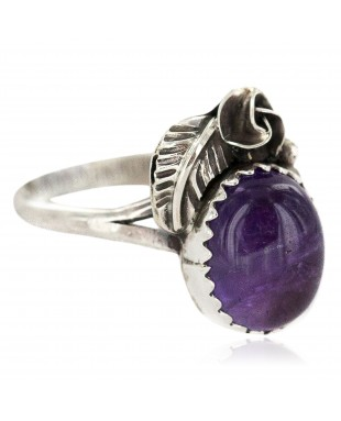 Handmade Certified Authentic Navajo .925 Sterling Silver Natural Amethyst Native American Ring 26212-3