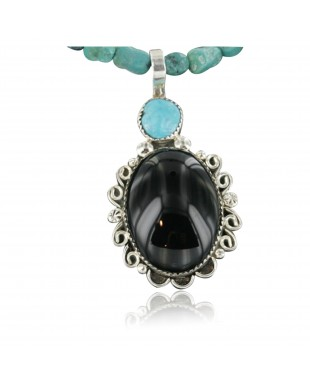 Handmade Certified Authentic Navajo .925 Sterling Silver Natural Black Onyx and Turquoise Native American Necklace & Pendant 390674619002