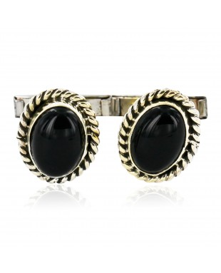 Handmade Certified Authentic Navajo .925 Sterling Silver Natural Black Onyx Native American Cuff Links 19109-4